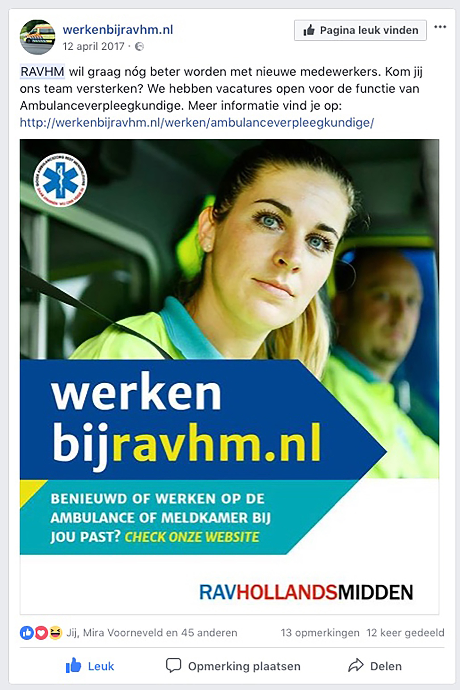 Ambulancedienst RAV HM, campaign recrutement>2018