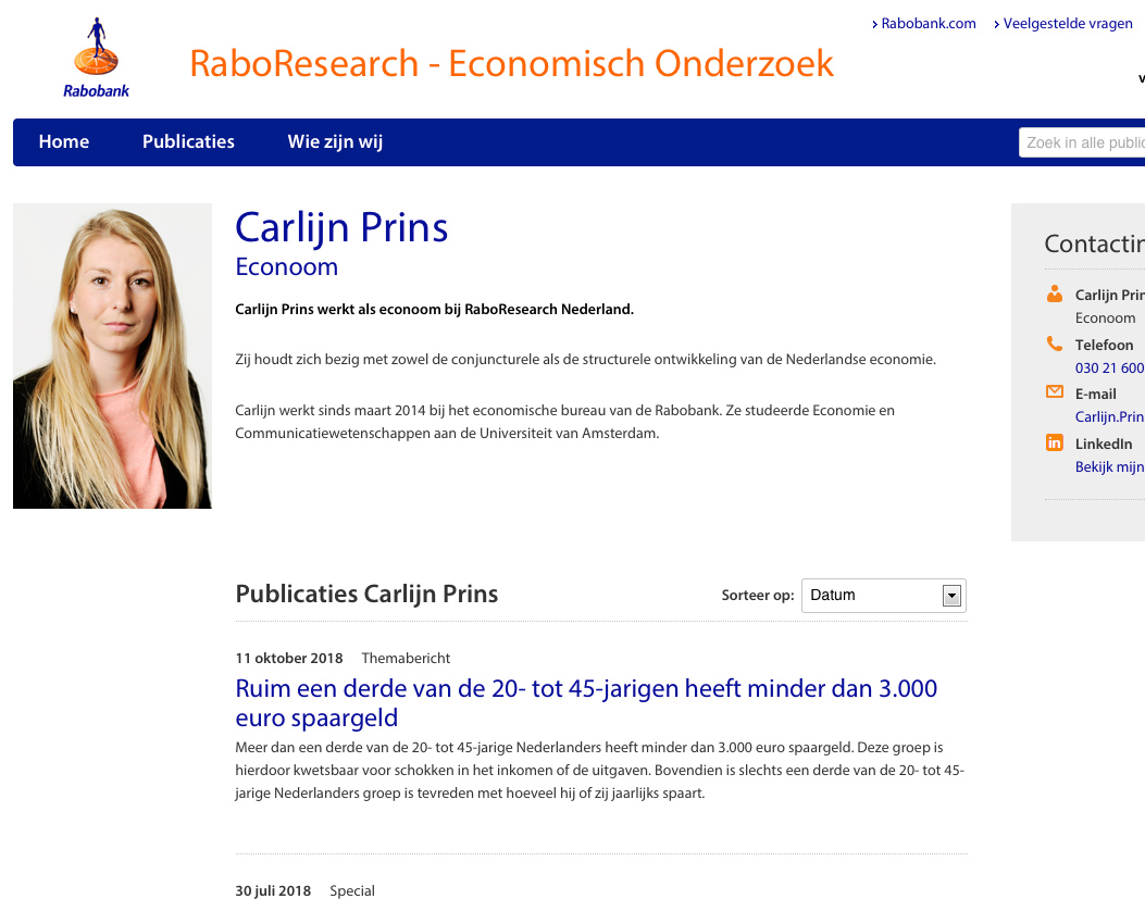 business portraits, website Rabobank>2018