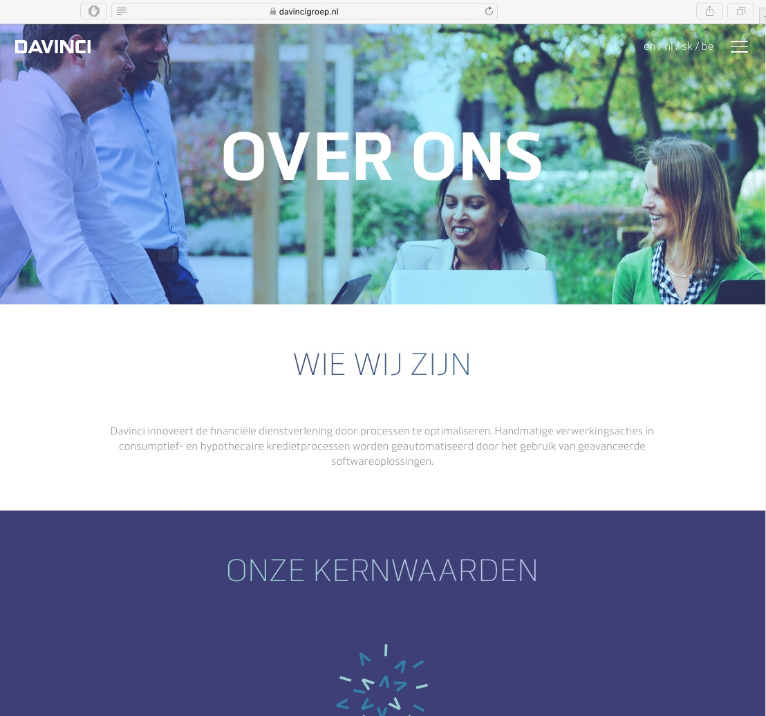 Davinci Amsterdam, website>2017